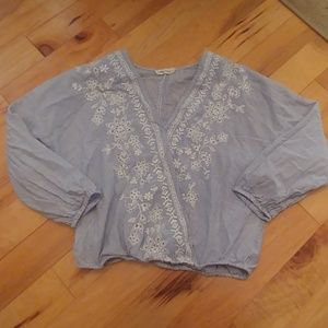 #5490 Chloe & Katie Embroidered Crop Top.